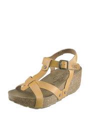 Kožené sandály na korkovém klínu FLY London